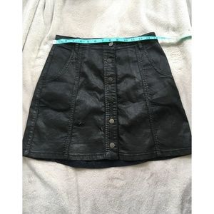 Blank NYC Button Front Black Denim Mini Skirt